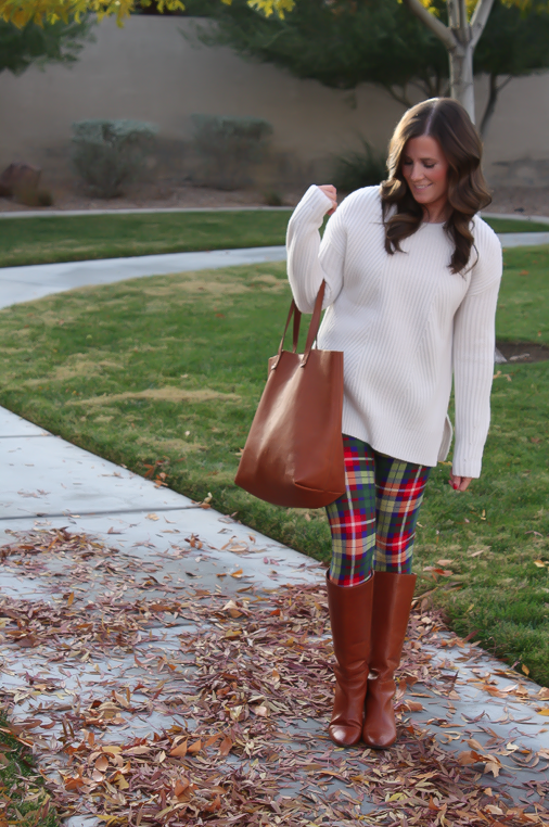 White Plum Plaid Leggings, Ivory Tunic Sweater, Cognac Boots and Tote