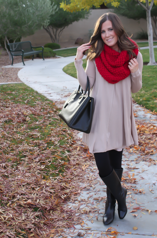 White-Plum-Tunic-Dress-Black-Leggings-Black-Tall-Boots-Black-Tote-Bag-Red-Infinity-Scarf-3