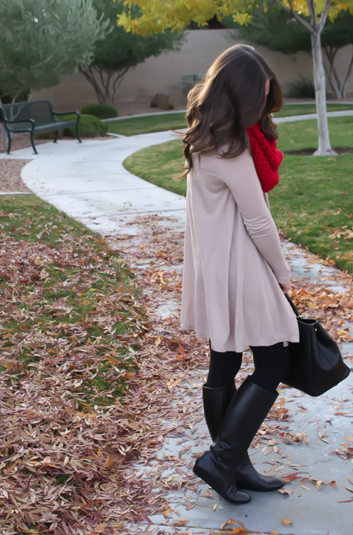 White-Plum-Tunic-Dress-Black-Leggings-Black-Tall-Boots-Black-Tote-Bag-Red-Infinity-Scarf-5