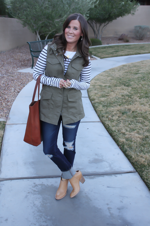 Army Green Utility Vest, Navy Striped Tee, Distressed Skinny Jeans, Tan Mules, Cognac Tote, Banana Republic, H&M, AG Jeans, Dolce Vita, Madewell