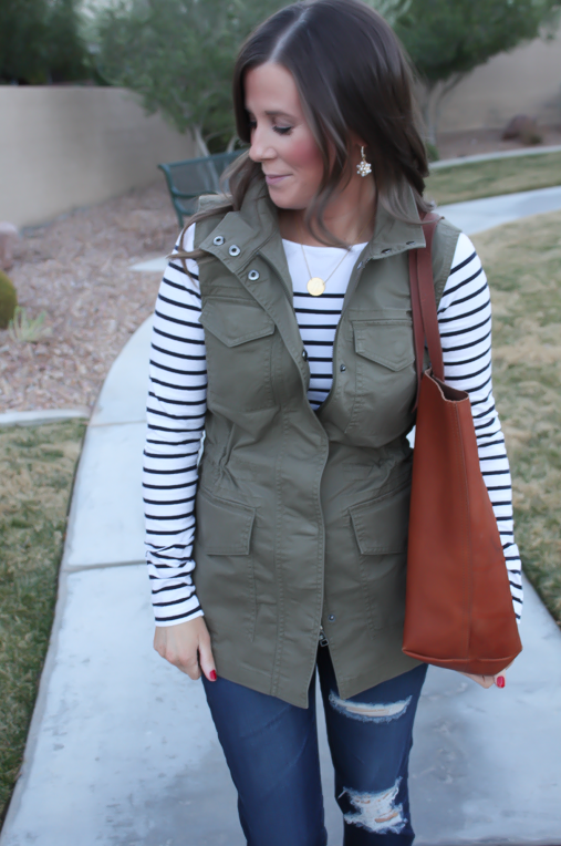 Army Green Utility Vest, Navy Striped Tee, Distressed Skinny Jeans, Tan Mules, Cognac Tote, Banana Republic, H&M, AG Jeans, Dolce Vita, Madewell  18