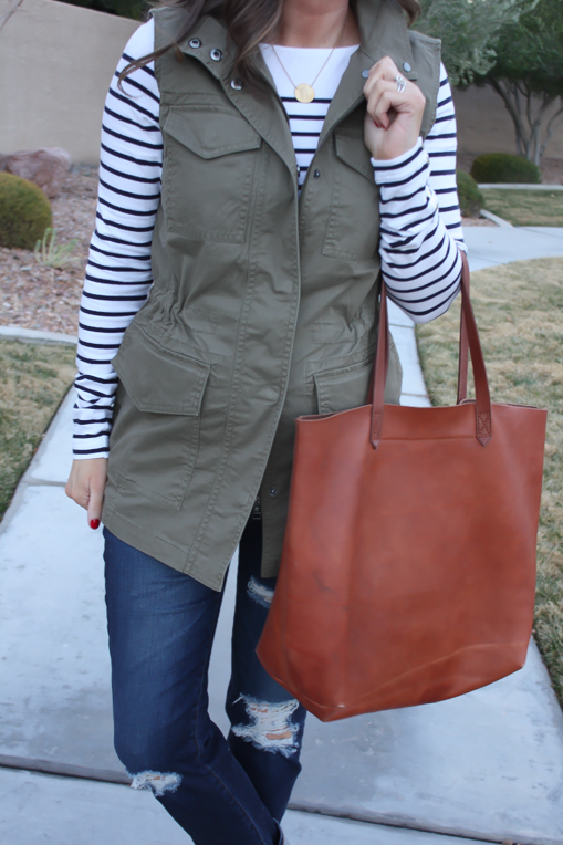 Army Green Utility Vest, Navy Striped Tee, Distressed Skinny Jeans, Tan Mules, Cognac Tote, Banana Republic, H&M, AG Jeans, Dolce Vita, Madewell  23