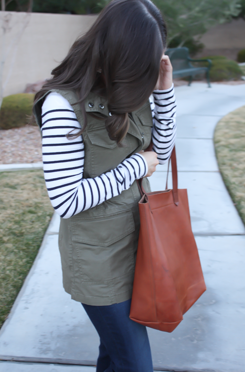 Army Green Utility Vest, Navy Striped Tee, Distressed Skinny Jeans, Tan Mules, Cognac Tote, Banana Republic, H&M, AG Jeans, Dolce Vita, Madewell  24