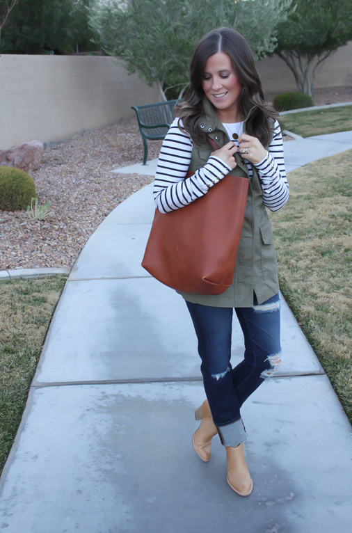 Army Green Utility Vest, Navy Striped Tee, Distressed Skinny Jeans, Tan Mules, Cognac Tote, Banana Republic, H&M, AG Jeans, Dolce Vita, Madewell  8