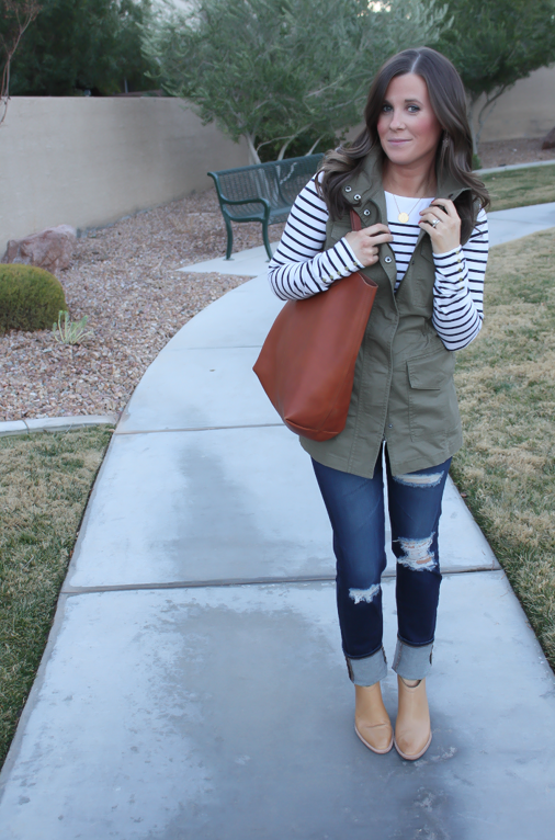 Army Green Utility Vest, Navy Striped Tee, Distressed Skinny Jeans, Tan Mules, Cognac Tote, Banana Republic, H&M, AG Jeans, Dolce Vita, Madewell  9