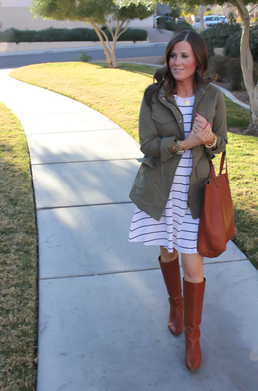 Black and White Striped Dress, Green Cargo Jacket, Cognac Boots, Cognac Tote, Old Navy, Banana Republic, Loeffler Randall, Madewell 11