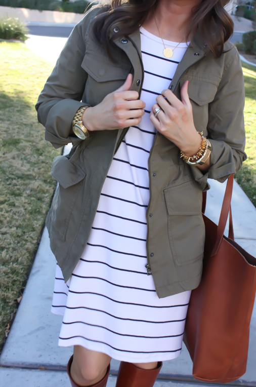 Black and White Striped Dress, Green Cargo Jacket, Cognac Boots, Cognac Tote, Old Navy, Banana Republic, Loeffler Randall, Madewell 15