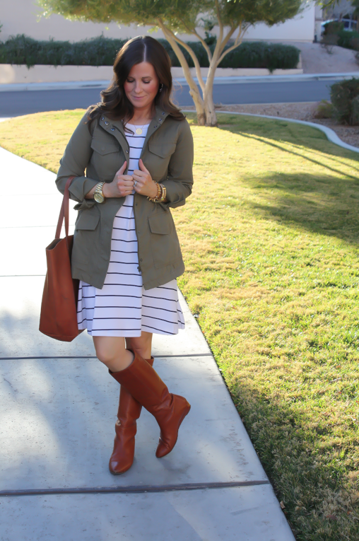 Black and White Striped Dress, Green Cargo Jacket, Cognac Boots, Cognac Tote, Old Navy, Banana Republic, Loeffler Randall, Madewell 2