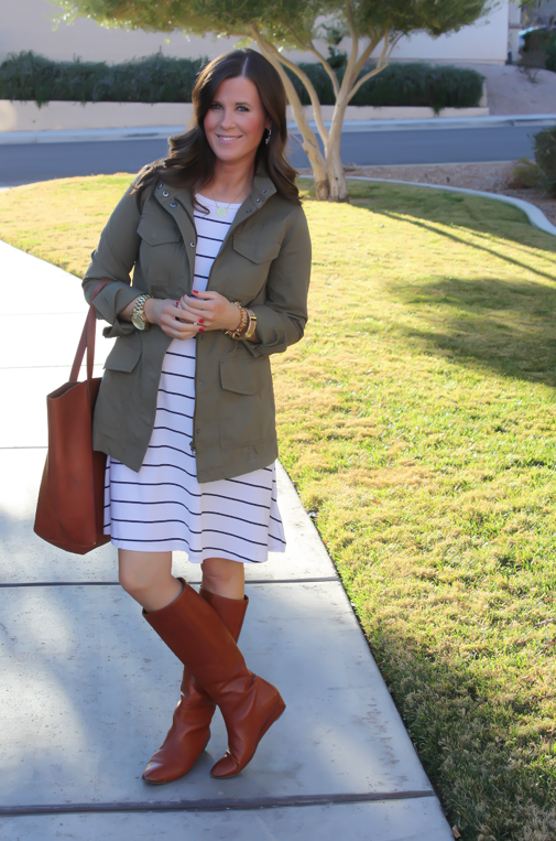Black and White Striped Dress, Green Cargo Jacket, Cognac Boots, Cognac Tote, Old Navy, Banana Republic, Loeffler Randall, Madewell 3