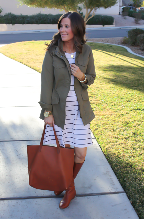Black and White Striped Dress, Green Cargo Jacket, Cognac Boots, Cognac Tote, Old Navy, Banana Republic, Loeffler Randall, Madewell 5