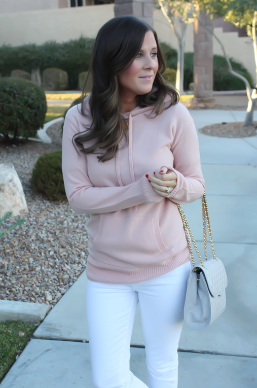 Blush Pink Cashmere Hoodie, White Skinny Ankle Jeans, Sand Suede Heels, Grey Quilted Crossbody, J.Crew, J.Brand, Rebecca Minkoff 13