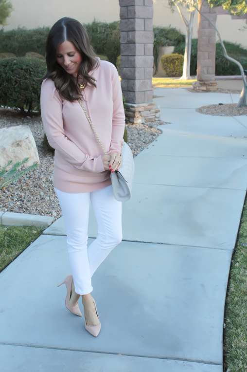 Blush Pink Cashmere Hoodie, White Skinny Ankle Jeans, Sand Suede Heels, Grey Quilted Crossbody, J.Crew, J.Brand, Rebecca Minkoff 2