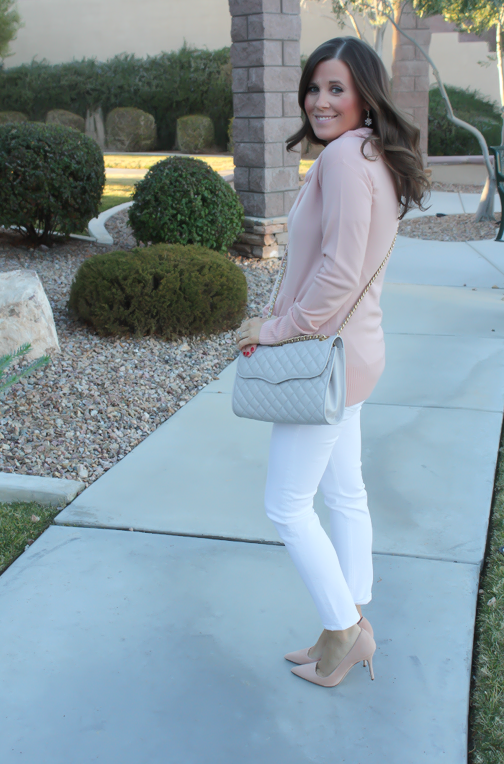 Blush Pink Cashmere Hoodie, White Skinny Ankle Jeans, Sand Suede Heels, Grey Quilted Crossbody, J.Crew, J.Brand, Rebecca Minkoff 3