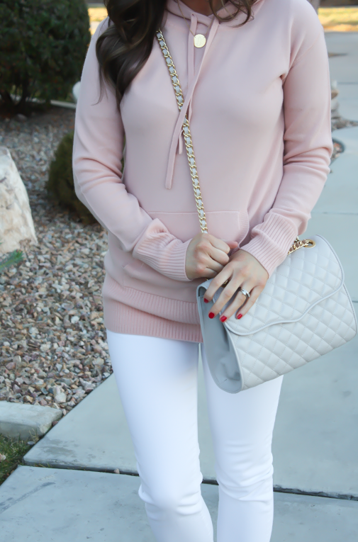 Blush Pink Cashmere Hoodie, White Skinny Ankle Jeans, Sand Suede Heels, Grey Quilted Crossbody, J.Crew, J.Brand, Rebecca Minkoff 4