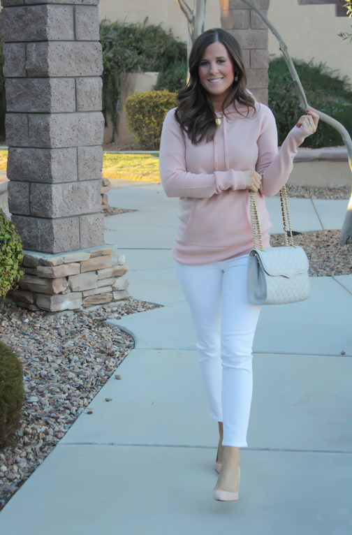 Blush Pink Cashmere Hoodie, White Skinny Ankle Jeans, Sand Suede Heels, Grey Quilted Crossbody, J.Crew, J.Brand, Rebecca Minkoff 9