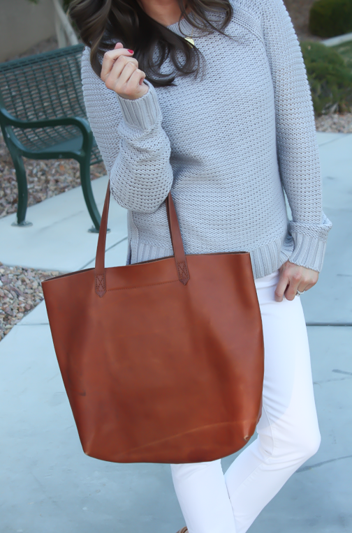 Grey Open Stitch Sweater, White Cropped Skinny Jeans, Sand Peep Toe Wedges, Cognac Tote, Banana Republic, J Brand, See By Chloe, Madewell 10