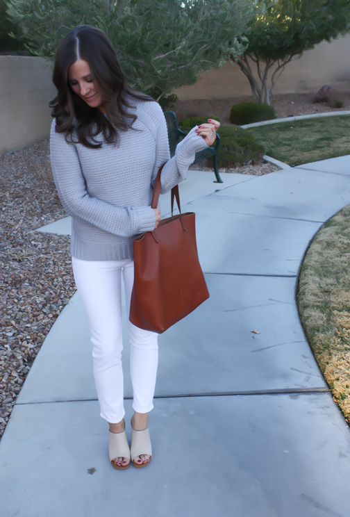 Grey Open Stitch Sweater, White Cropped Skinny Jeans, Sand Peep Toe Wedges, Cognac Tote, Banana Republic, J Brand, See By Chloe, Madewell 12