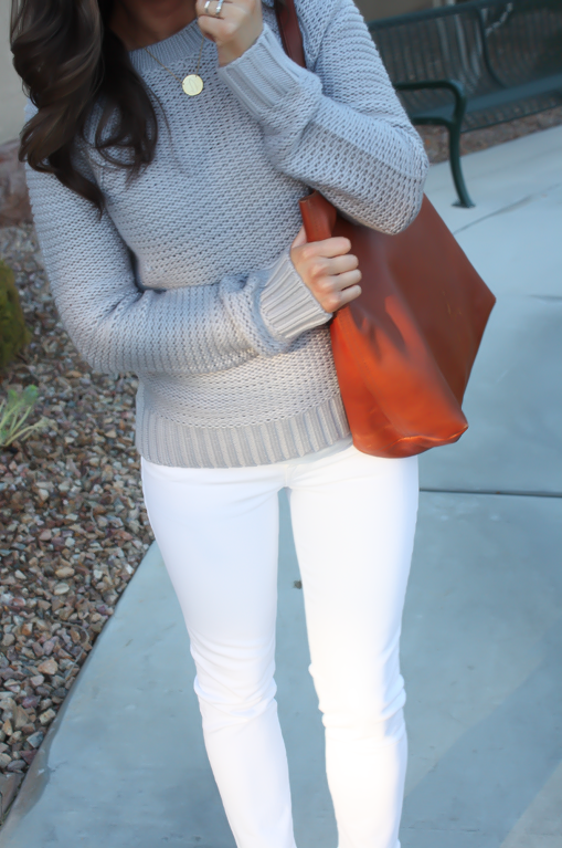 Grey Open Stitch Sweater, White Cropped Skinny Jeans, Sand Peep Toe Wedges, Cognac Tote, Banana Republic, J Brand, See By Chloe, Madewell 19