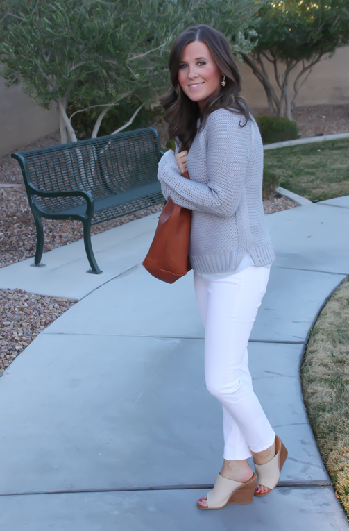 Grey Open Stitch Sweater, White Cropped Skinny Jeans, Sand Peep Toe Wedges, Cognac Tote, Banana Republic, J Brand, See By Chloe, Madewell 4