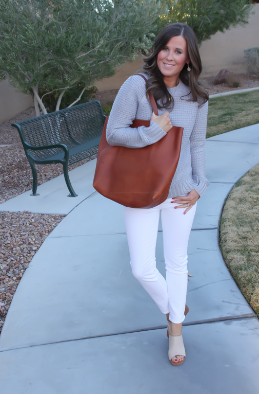 Grey Open Stitch Sweater, White Cropped Skinny Jeans, Sand Peep Toe Wedges, Cognac Tote, Banana Republic, J Brand, See By Chloe, Madewell 8