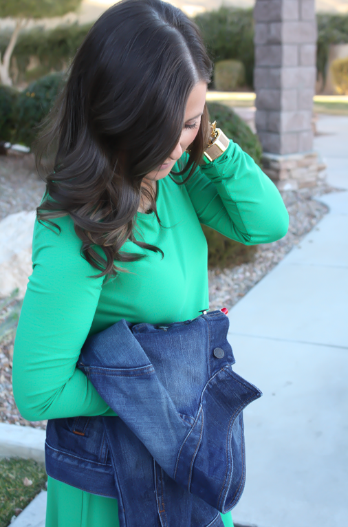 Long Sleeve Green Dress, Dark Rinse Denim Jacket, Tall Brown Boots, Express, Old Navy, Madewell 12