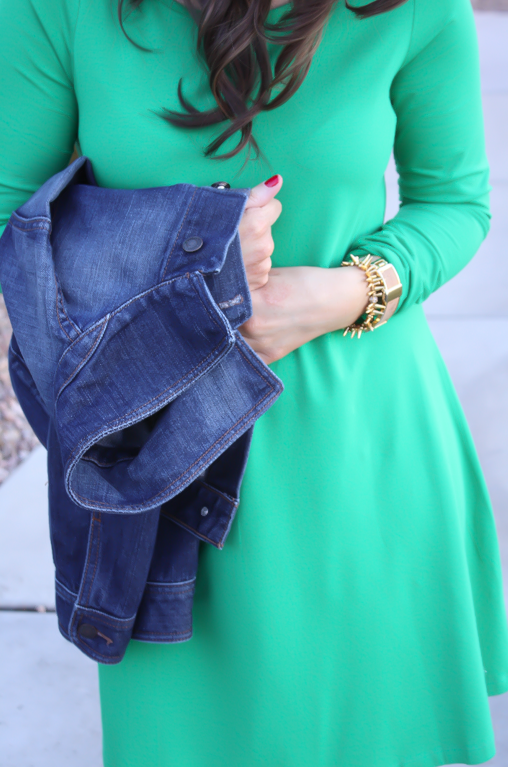 Long Sleeve Green Dress, Dark Rinse Denim Jacket, Tall Brown Boots, Express, Old Navy, Madewell 13