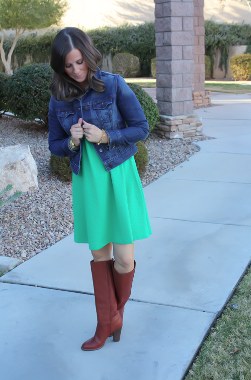 Long Sleeve Green Dress, Dark Rinse Denim Jacket, Tall Brown Boots, Express, Old Navy, Madewell 3