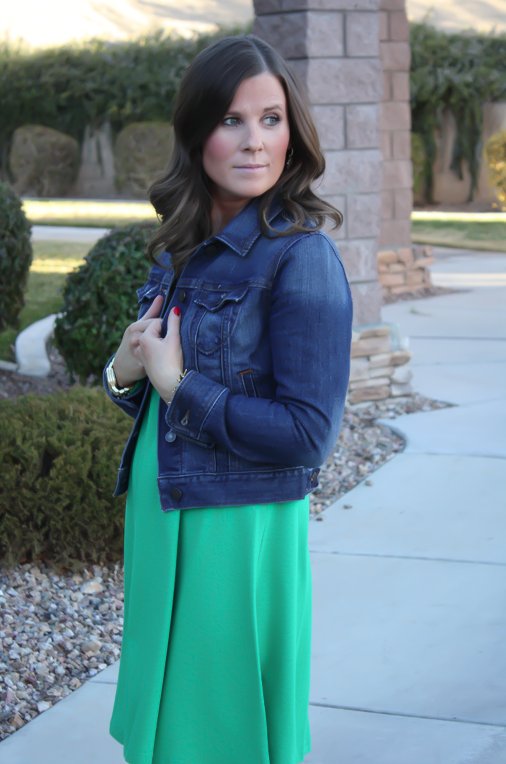 Long Sleeve Green Dress, Dark Rinse Denim Jacket, Tall Brown Boots, Express, Old Navy, Madewell 4
