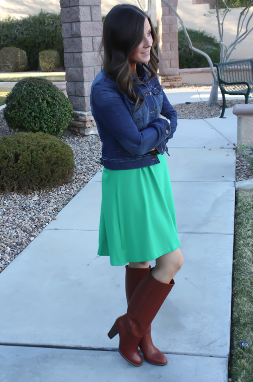Long Sleeve Green Dress, Dark Rinse Denim Jacket, Tall Brown Boots, Express, Old Navy, Madewell 6