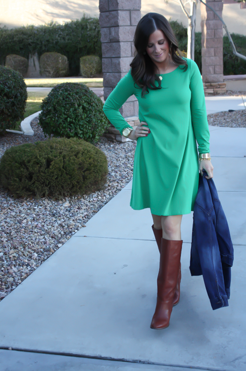 Long Sleeve Green Dress, Dark Rinse Denim Jacket, Tall Brown Boots, Express, Old Navy, Madewell 9