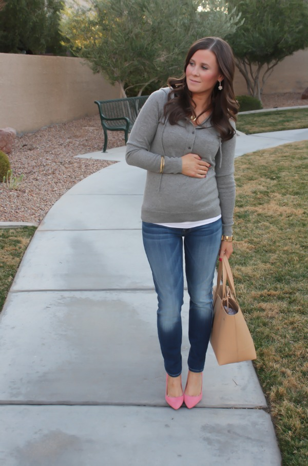 11Grey Cashmere Hoodie, Medium Wash Cropped Skinny Jeans, Coral Pink Suede Heels, Tan Structured Tote, J.Crew, Seven for All Mank