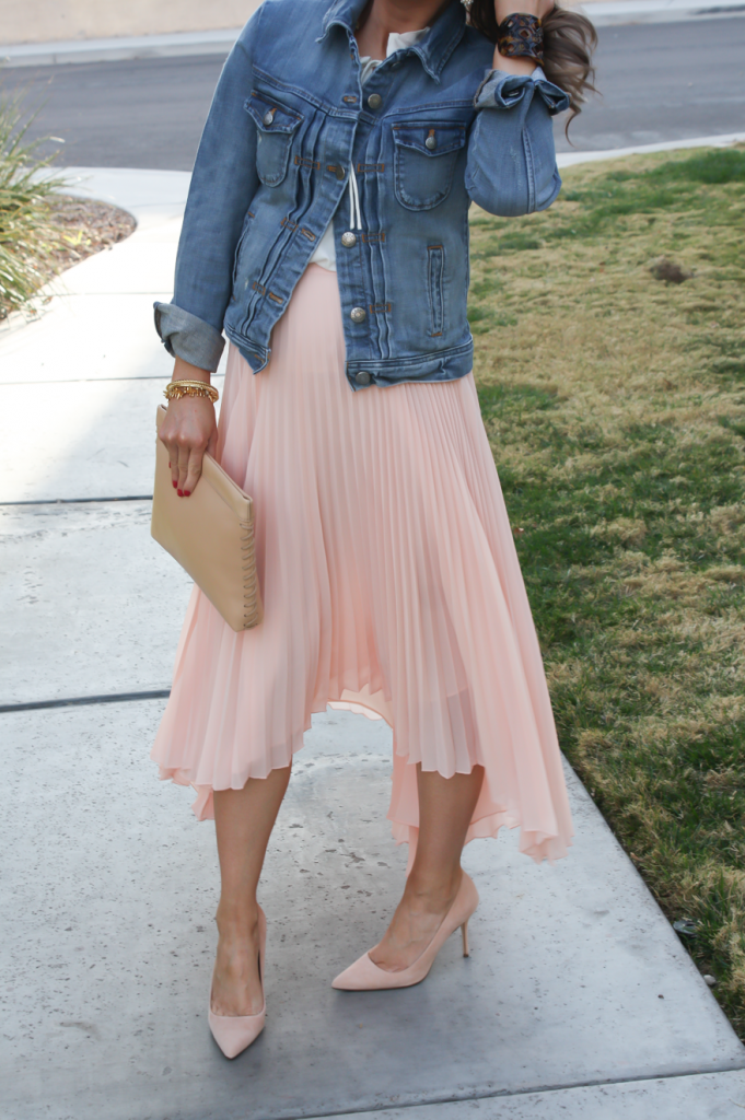 Blush Pink Pleated High Low Skirt, Ivory Ruffle Trim Camisole Blouse, Light Rinse Denim Jacket, Biege Suede Heels, Beige Leather Clutch, Tortoise Cuff 10