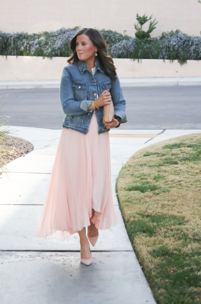 Blush Pink Pleated High Low Skirt, Ivory Ruffle Trim Camisole Blouse, Light Rinse Denim Jacket, Biege Suede Heels, Beige Leather Clutch, Tortoise Cuff 16
