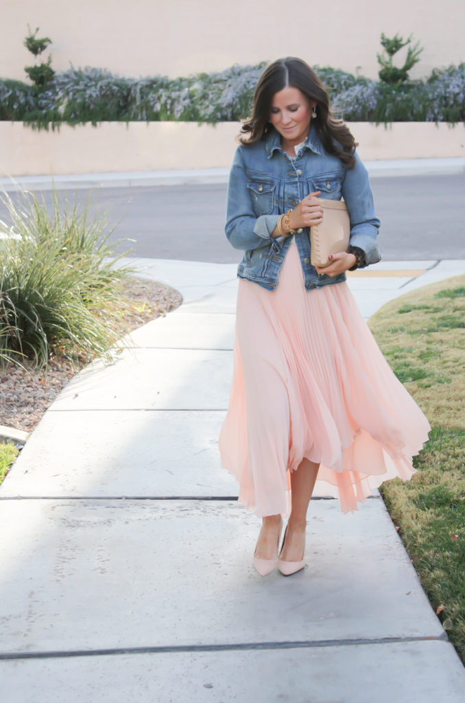 Blush Pink Pleated High Low Skirt, Ivory Ruffle Trim Camisole Blouse, Light Rinse Denim Jacket, Biege Suede Heels, Beige Leather Clutch, Tortoise Cuff 18