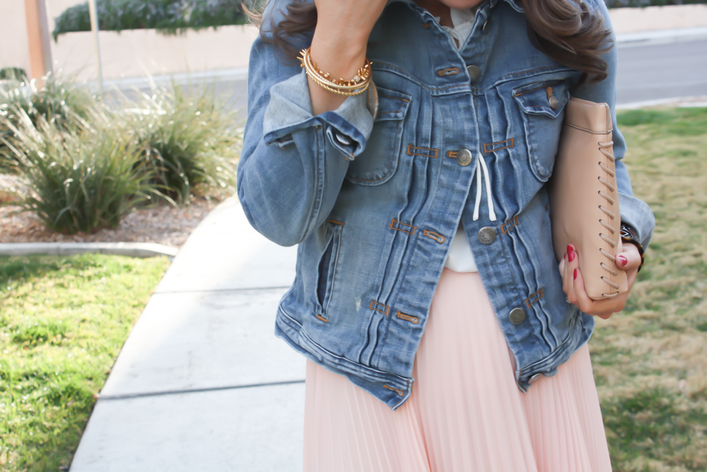 Blush Pink Pleated High Low Skirt, Ivory Ruffle Trim Camisole Blouse, Light Rinse Denim Jacket, Biege Suede Heels, Beige Leather Clutch, Tortoise Cuff 24
