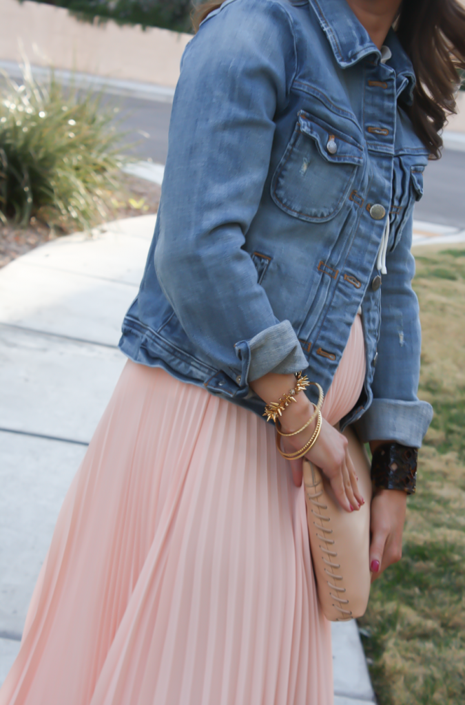 Blush Pink Pleated High Low Skirt, Ivory Ruffle Trim Camisole Blouse, Light Rinse Denim Jacket, Biege Suede Heels, Beige Leather Clutch, Tortoise Cuff 31