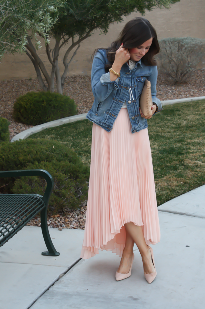 Blush Pink Pleated High Low Skirt, Ivory Ruffle Trim Camisole Blouse, Light Rinse Denim Jacket, Biege Suede Heels, Beige Leather Clutch, Tortoise Cuff 34