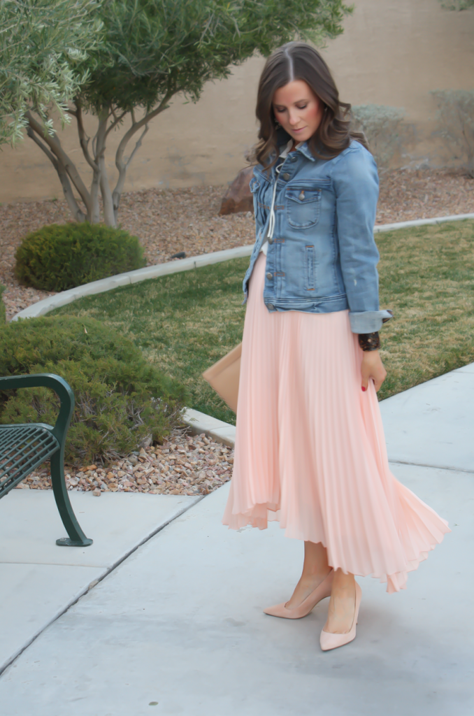 Blush Pink Pleated High Low Skirt, Ivory Ruffle Trim Camisole Blouse, Light Rinse Denim Jacket, Biege Suede Heels, Beige Leather Clutch, Tortoise Cuff 36
