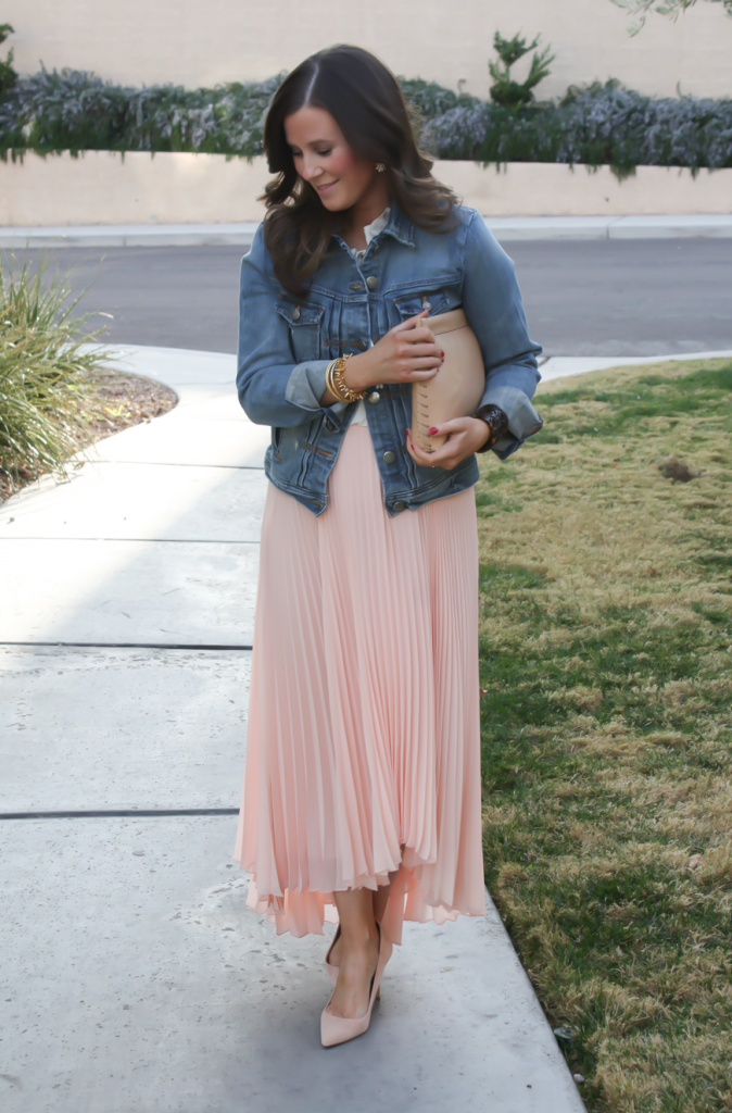 Blush Pink Pleated High Low Skirt, Ivory Ruffle Trim Camisole Blouse, Light Rinse Denim Jacket, Biege Suede Heels, Beige Leather Clutch, Tortoise Cuff 6