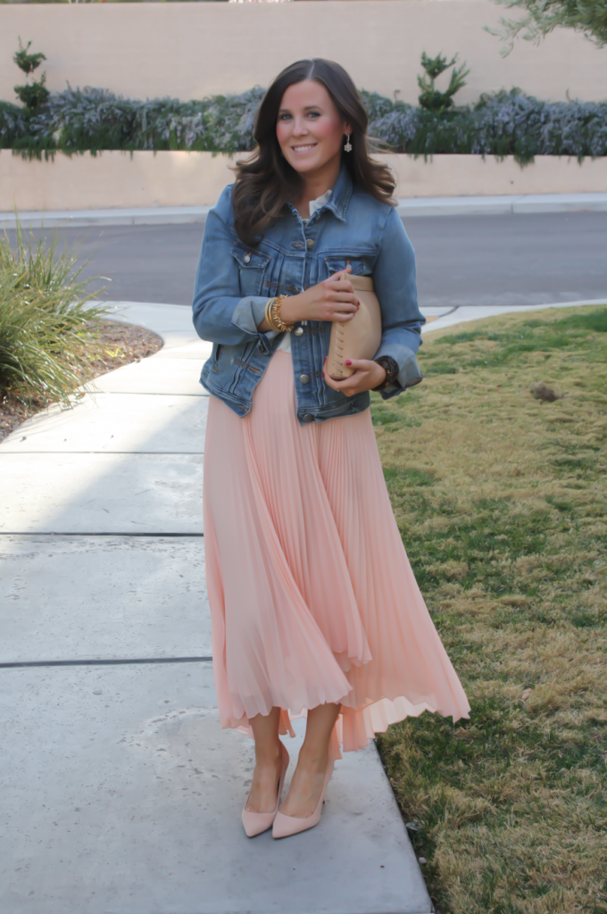 Blush Pink Pleated High Low Skirt, Ivory Ruffle Trim Camisole Blouse, Light Rinse Denim Jacket, Biege Suede Heels, Beige Leather Clutch, Tortoise Cuff 7