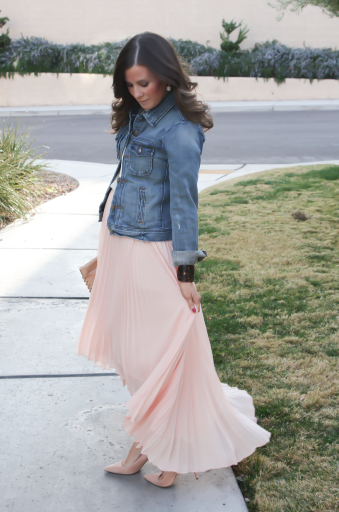 Blush Pink Pleated High Low Skirt, Ivory Ruffle Trim Camisole Blouse, Light Rinse Denim Jacket, Biege Suede Heels, Beige Leather Clutch, Tortoise Cuff 8