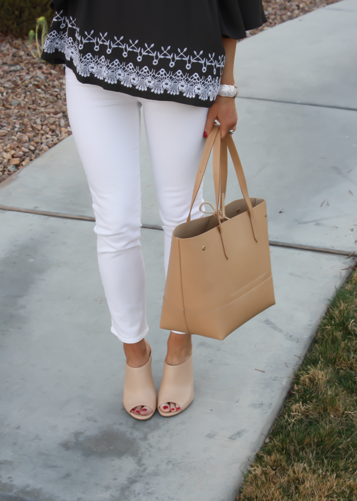 Grey Embroidered Peasant Blouse, White Cropped Skinny Jeans, Tan Mules, Tan Tote, Tolani, J Brand, Ann Taylor, J.Crew 11