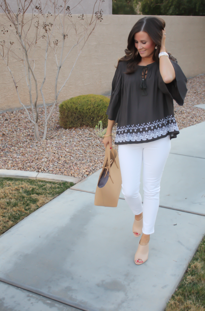 Grey Embroidered Peasant Blouse, White Cropped Skinny Jeans, Tan Mules, Tan Tote, Tolani, J Brand, Ann Taylor, J.Crew 18
