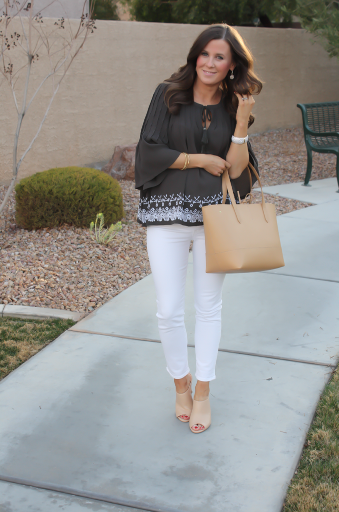 Grey Embroidered Peasant Blouse, White Cropped Skinny Jeans, Tan Mules, Tan Tote, Tolani, J Brand, Ann Taylor, J.Crew 2