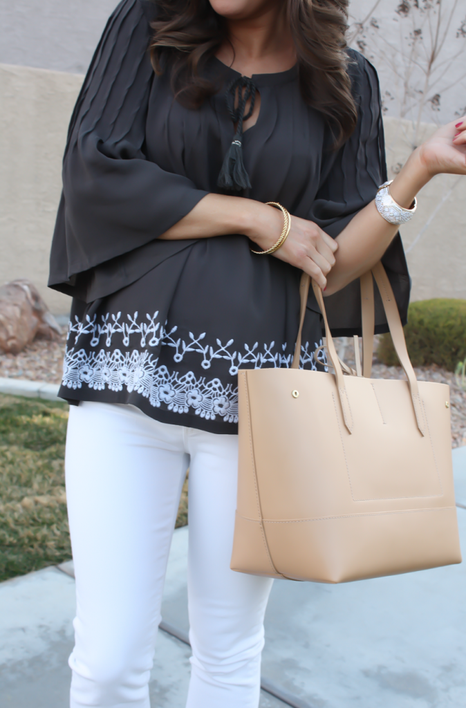 Grey Embroidered Peasant Blouse, White Cropped Skinny Jeans, Tan Mules, Tan Tote, Tolani, J Brand, Ann Taylor, J.Crew 24