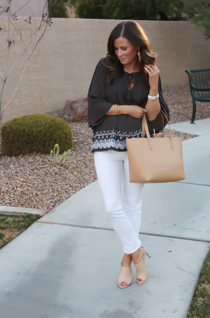 Grey Embroidered Peasant Blouse, White Cropped Skinny Jeans, Tan Mules, Tan Tote, Tolani, J Brand, Ann Taylor, J.Crew 3