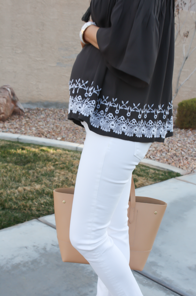 Grey Embroidered Peasant Blouse, White Cropped Skinny Jeans, Tan Mules, Tan Tote, Tolani, J Brand, Ann Taylor, J.Crew 30