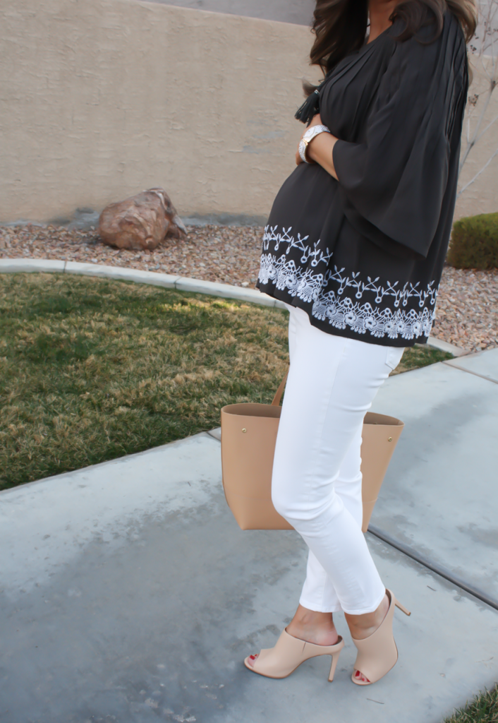 Grey Embroidered Peasant Blouse, White Cropped Skinny Jeans, Tan Mules, Tan Tote, Tolani, J Brand, Ann Taylor, J.Crew 31