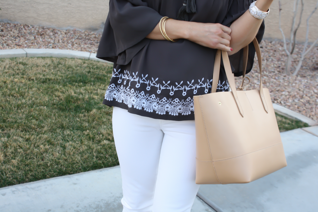 Grey Embroidered Peasant Blouse, White Cropped Skinny Jeans, Tan Mules, Tan Tote, Tolani, J Brand, Ann Taylor, J.Crew 33