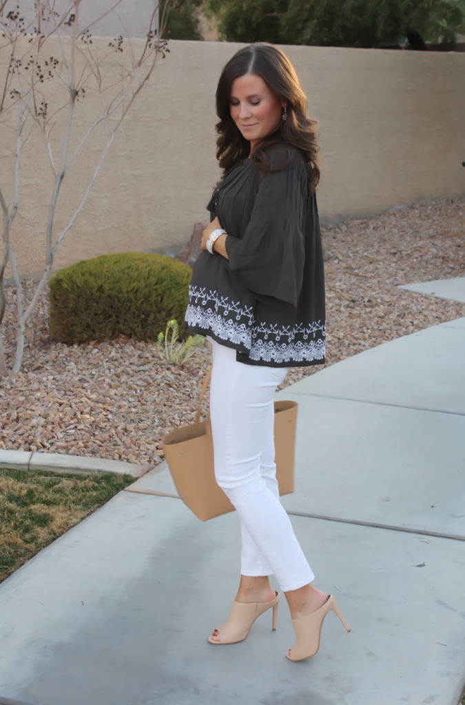 Grey Embroidered Peasant Blouse, White Cropped Skinny Jeans, Tan Mules, Tan Tote, Tolani, J Brand, Ann Taylor, J.Crew 4